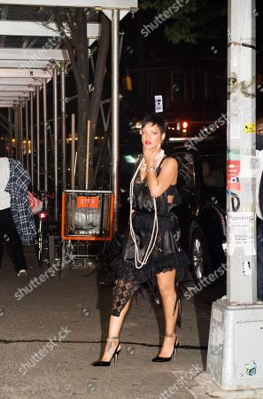 Editorial image of Rihanna dines at Carbone in see-through and pearls, New York, USA - 06 Jul 2021