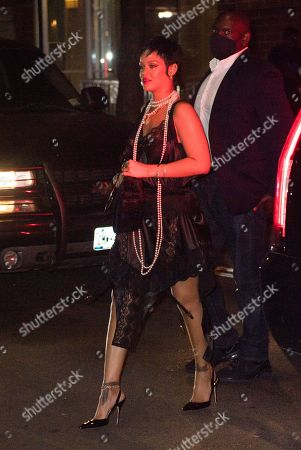 Editorial photo of Rihanna dines at Carbone in see-through and pearls, New York, USA - 06 Jul 2021