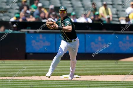 Oakland Athletics third baseman Matt Chapman against the Texas Rangers during a baseball game in Oakland, Calif