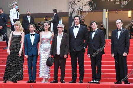 Stock Photo of Angele, Simon Helberg, Marion Cotillard, director Leos Carax, Adam Driver, Russel Mael and Ron Mael