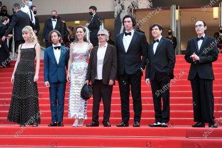 Stock Image of Angele, Simon Helberg, Marion Cotillard, director Leos Carax, Adam Driver, Russel Mael and Ron Mael