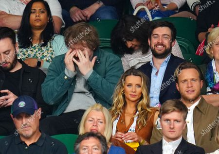 Lewis Capaldi and Jack Whitehall watching the action on Centre Court