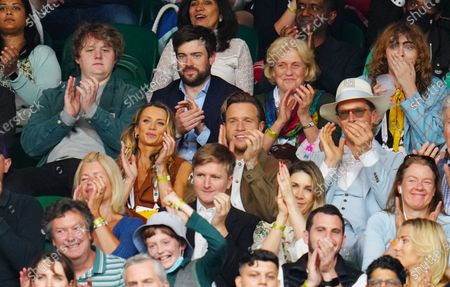 Olly Murs, Amelia Tank, Lewis Capaldi, Jack Whitehall and Benedict Cumberbatch watching the action on Centre Court