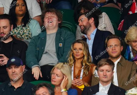 Lewis Capaldi and Jack Whitehall laugh behind Amelia Tank and Olly Murs
