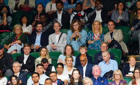 Jack Whitehall looks on alongside his mother Hilary on the same row as Anne-Marie Corbett and Ant McPartlin
