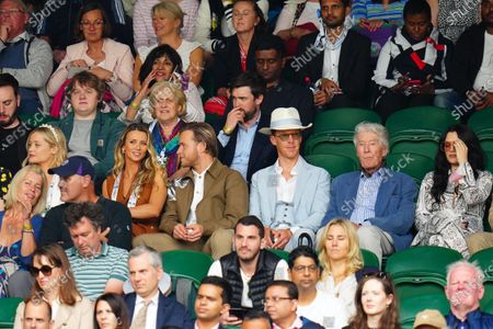 Laura Whitmore, Olly Murs, Amelia Tank, Jack Whitehall, Benedict Cumberbatch and Jessie J watching the action on Centre Court