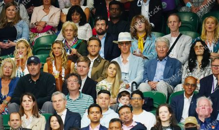 Stock Image of Laura Whitmore, Olly Murs, Amelia Tank, Jack Whitehall, Benedict Cumberbatch and Jessie J watching the action on Centre Court