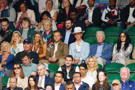 Stock Photo of Laura Whitmore, Olly Murs, Amelia Tank, Jack Whitehall, Benedict Cumberbatch and Jessie J watching the action on Centre Court
