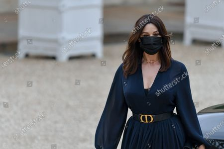 Italian actress Monica Bellucci arrives for state diner with Italian President Sergio Mattarella and his daughter Laura Mattarella and French President Emmanuel Macron and his wife Brigitte Macron at the Elysee Palace in Paris, on July 5, 2021