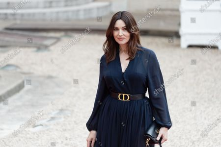 Stock Picture of Italian actress Monica Bellucci arrives for state diner with Italian President Sergio Mattarella and his daughter Laura Mattarella and French President Emmanuel Macron and his wife Brigitte Macron at the Elysee Palace in Paris, on July 5, 2021
