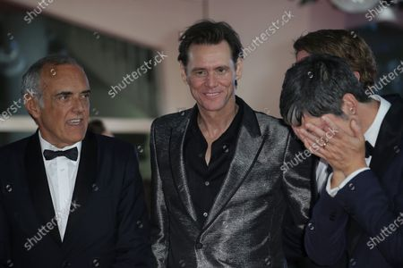 Eddy Moretti, Venice Film Festival Director Alberto Barbera, actor Jim Carrey, director Chris Smith and producer Danny Gabai attend the premiere of the movie 'Jim & Andy: The Great Beyond - The Story Of Jim Carey & Andy Kaufman With A Very Special, Contractually Obligated Mention Of Tony Clifton' presented out of competition at the 74th Venice Film Festival