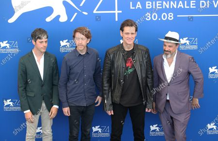 Danny Gabai, Chris Smith, Jim Carrey and Eddy Moretti attends the photocall of the movie 'Jim & Andy: The Great Beyond - The Story Of Jim Carrey & Andy Kaufman With A Very Special, Contractually Obligated Mention Of Tony Clifton' presented out of competition at the 74th Venice Film Festival