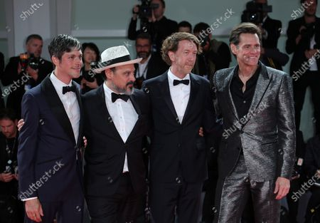 Jim Carrey, Chris Smith, Danny Gabai and Eddy Moretti attend the premiere of the movie 'Jim & Andy: The Great Beyond - The Story Of Jim Carey & Andy Kaufman With A Very Special, Contractually Obligated Mention Of Tony Clifton' presented out of competition at the 74th Venice Film Festival