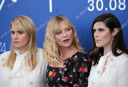 Kate Mulleavy, Kirsten Dunst and Laura Mulleavy attend the 'Woodshock' photocall during the 74th Venice Film Festival