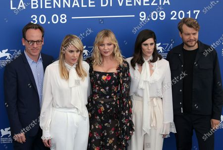 Michael Costigan, Kate Mulleavy, Kirsten Dunst, Laura Mulleavy and Pilou Asbaek attend the 'Woodshock' photocall during the 74th Venice Film Festival