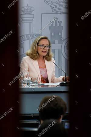 Spanish Minister for Economy and Digitalization Nadia Calvino, addresses a press conference after the weekly Cabinet Meeting held at Moncloa Palace in Madrid, Spain, 06 July 2021.