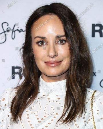 Reporter Catt Sadler arrives at Rolla's x Sofia Richie Collection Launch Event held at Harriet's Rooftop at 1 Hotel West Hollywood on February 20, 2020 in West Hollywood, Los Angeles, California, United States.