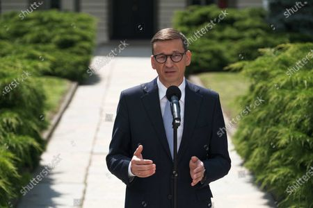 Polish Prime Minister Mateusz Morawiecki during the press conference after the meeting about the pandemic situation in Poland, in Warsaw, Poland, 06 July 2021.