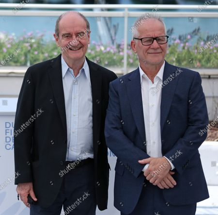 Cannes Film Festival President Pierre Lescure (L) and Cannes Film Festival Director Thierry Fremaux speak to journalists before the Jury photocall during the 74th annual Cannes International Film Festival in Cannes, France on Tuesday, July 6, 2021.