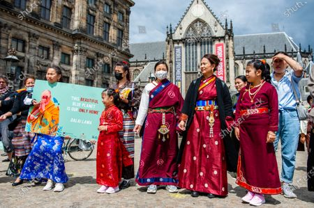 Tibetan people are waiting to the end of the Sangsol ceremony, during the Dalai Lama 86th birthday celebration in Amsterdam, on July 6th, 2021.