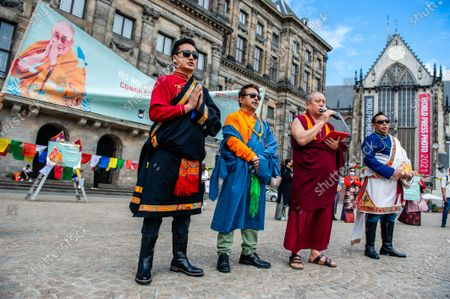 A Tibetan monk is praying, during the Dalai Lama 86th birthday celebration in Amsterdam, on July 6th, 2021.