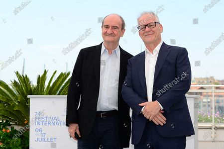 Cannes Film Festival President Pierre Lescure (L) and Cannes Film Festival General Delegate Thierry Fremaux pose during a photocall at the 74th annual Cannes Film Festival, in Cannes, France, 06 July 2021. The festival runs from 06 to 17 July.