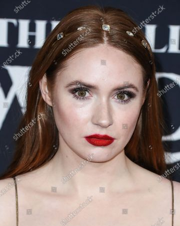 Actress Karen Gillan wearing Rochas arrives at the World Premiere Of 20th Century Studios' 'The Call Of The Wild' held at the El Capitan Theatre on February 13, 2020 in Hollywood, Los Angeles, California, United States.