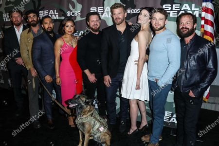 Justin Melnick, Neil Brown Jr., Toni Trucks, AJ Buckley, David Boreanaz, Jessica Pare, Max Thieriot and Judd Lormand arrive at the Los Angeles Premiere Of CBS Television Studios' 'SEAL Team' held at ArcLight Cinemas Hollywood on February 25, 2020 in Hollywood, Los Angeles, California, United States.