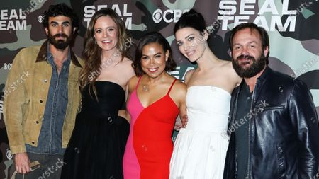 Justin Melnick, Rachel Boston, Toni Trucks, Jessica Pare and Judd Lormand arrive at the Los Angeles Premiere Of CBS Television Studios' 'SEAL Team' held at ArcLight Cinemas Hollywood on February 25, 2020 in Hollywood, Los Angeles, California, United States.