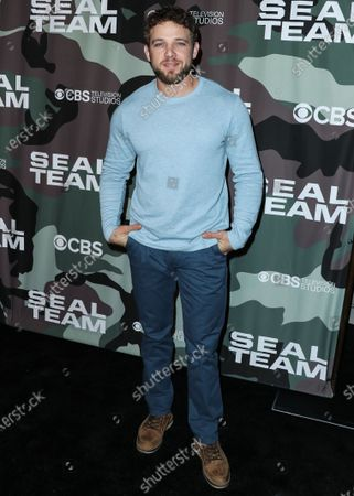Stock Picture of Max Thieriot arrives at the Los Angeles Premiere Of CBS Television Studios' 'SEAL Team' held at ArcLight Cinemas Hollywood on February 25, 2020 in Hollywood, Los Angeles, California, United States.