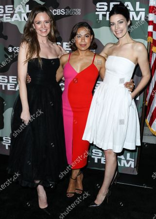 Stock Photo of Rachel Boston, Toni Trucks and Jessica Pare arrive at the Los Angeles Premiere Of CBS Television Studios' 'SEAL Team' held at ArcLight Cinemas Hollywood on February 25, 2020 in Hollywood, Los Angeles, California, United States.