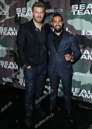 Stock Photo of David Boreanaz and Neil Brown Jr. arrive at the Los Angeles Premiere Of CBS Television Studios' 'SEAL Team' held at ArcLight Cinemas Hollywood on February 25, 2020 in Hollywood, Los Angeles, California, United States.