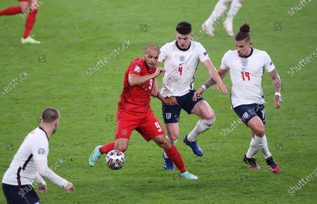 Martin Braithwaite (D) Declan Rice (E) Kalvin Phillips (E) at the England v Denmark UEFA EURO 2020 Semi-Final match at Wembley Stadium, London, UK, on July 7, 2021.