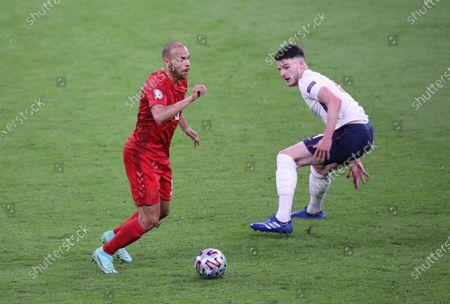 Martin Braithwaite (D) Declan Rice (E) at the England v Denmark UEFA EURO 2020 Semi-Final match at Wembley Stadium, London, UK, on July 7, 2021.