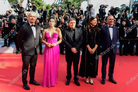 Critics' Week Jury members, Michel Merkt, Didar Domehri, Jury President Cristian Mungiu, Camelia Jordana, and Karel Och arrive for the screening of 'Annette' and the Opening Ceremony of the 74th annual Cannes Film Festival, in Cannes, France, 06 July 2021. Presented in competition, the movie opens the festival which runs from 06 to 17 July.