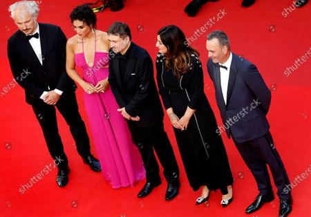 Critics' Week Jury members , Karel Och, Camelia Jordana, Jury President Cristian Mungiu, Didar Domehri, and Michel Merkt arrive for the screening of 'Annette' and the Opening Ceremony of the 74th annual Cannes Film Festival, in Cannes, France, 06 July 2021. Presented in competition, the movie opens the festival which runs from 06 to 17 July.