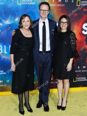 Stock Image of Ann Druyan, Peter Rice and Courteney Monroe arrive at the Los Angeles Premiere Of National Geographic's 'Cosmos: Possible Worlds' held at Royce Hall at the University of California, Los Angeles (UCLA) on February 26, 2020 in Westwood, Los Angeles, California, United States.