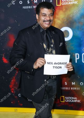 Astrophysicist Neil deGrasse Tyson arrives at the Los Angeles Premiere Of National Geographic's 'Cosmos: Possible Worlds' held at Royce Hall at the University of California, Los Angeles (UCLA) on February 26, 2020 in Westwood, Los Angeles, California, United States.