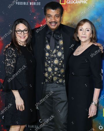 Courteney Monroe, Neil deGrasse Tyson and Ann Druyan arrive at the Los Angeles Premiere Of National Geographic's 'Cosmos: Possible Worlds' held at Royce Hall at the University of California, Los Angeles (UCLA) on February 26, 2020 in Westwood, Los Angeles, California, United States.