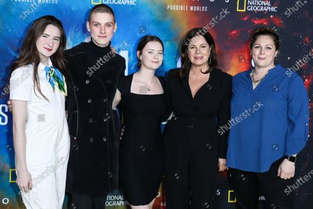 Marcia Gay Harden, Eulala Grace Scheel, Hudson Harden Scheel and Julitta Dee Harden Scheel arrive at the Los Angeles Premiere Of National Geographic's 'Cosmos: Possible Worlds' held at Royce Hall at the University of California, Los Angeles (UCLA) on February 26, 2020 in Westwood, Los Angeles, California, United States.