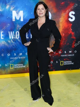 Stock Picture of Actress Marcia Gay Harden arrives at the Los Angeles Premiere Of National Geographic's 'Cosmos: Possible Worlds' held at Royce Hall at the University of California, Los Angeles (UCLA) on February 26, 2020 in Westwood, Los Angeles, California, United States.
