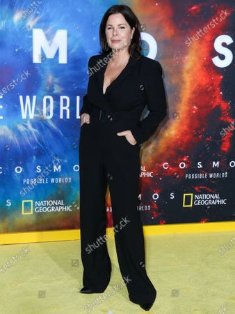 Actress Marcia Gay Harden arrives at the Los Angeles Premiere Of National Geographic's 'Cosmos: Possible Worlds' held at Royce Hall at the University of California, Los Angeles (UCLA) on February 26, 2020 in Westwood, Los Angeles, California, United States.