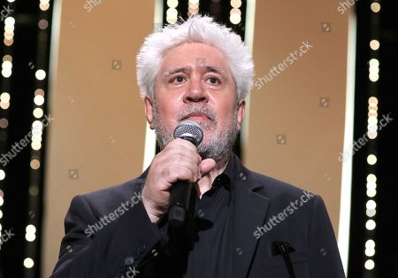 Pedro Almodovar appears at the opening ceremony of the 74th international film festival, Cannes, southern France