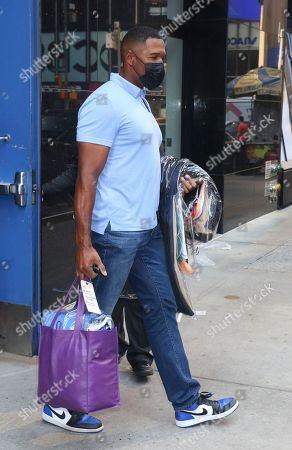 Michael Strahan seen exiting ABC studios in New York City