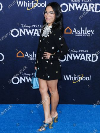 Actress Ali Wong arrives at the World Premiere Of Disney And Pixar's 'Onward' held at the El Capitan Theatre on February 18, 2020 in Hollywood, Los Angeles, California, United States.