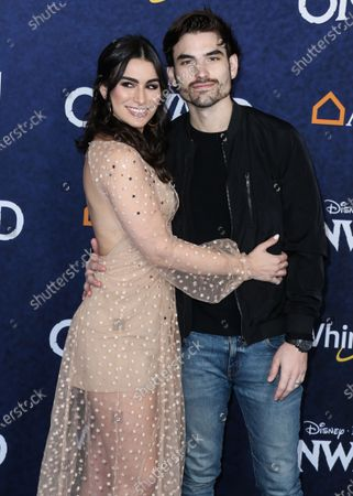 Ashley Iaconetti and Jared Haibon arrive at the World Premiere Of Disney And Pixar's 'Onward' held at the El Capitan Theatre on February 18, 2020 in Hollywood, Los Angeles, California, United States.