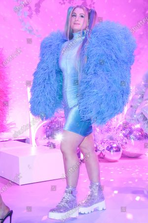 Singer Meghan Trainor wearing Christian Cowan walks the runway at the 2020 Christian Cowan x Powerpuff Girls Runway Show Season II held at NeueHouse Los Angeles on March 8, 2020 in Hollywood, Los Angeles, California, United States.
