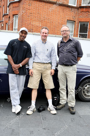 Stock Picture of Danny John- Jules(The Cat),Chris Barrie (Rimmer) and Robert Llewellyn (Kryten).