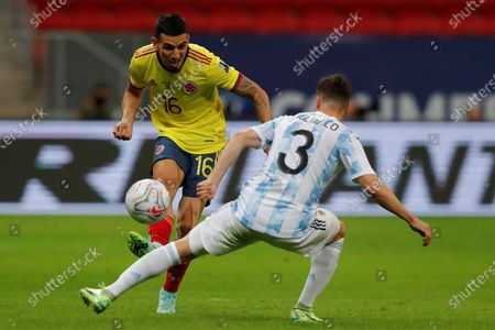 Argentina's Nicolas Tagliafico (R) in action against Colombia's Daniel Munoz (L), during the Copa America semifinal soccer match between Argentina and Colombia at Mane Garrincha stadium in Brasilia, Brazil, 06 July 2021.
