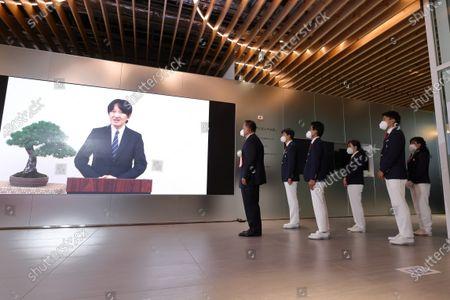 (L-R)  Crown Prince Akishino,  Japan Delegation (JPN) - Olympic :  Japan National Team Organization Ceremony  for Tokyo 2020 Olympic Games  in Tokyo, Japan.